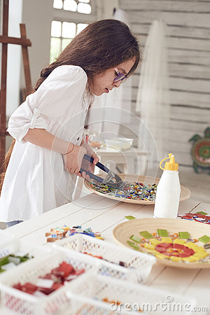Free Girl With Colorful Glass Mosaic Royalty Free Stock Photography - 74578627