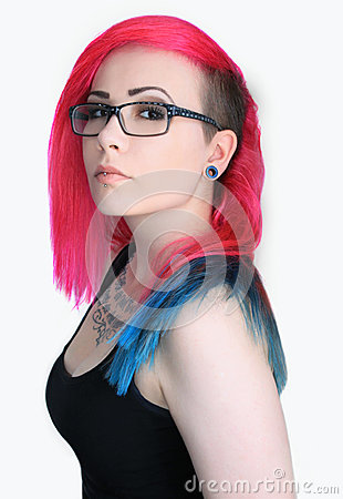 Free Girl With Colorful Hair And Glasses Stock Images - 37049304