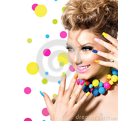 Free Girl With Colorful Makeup Royalty Free Stock Photo - 39737885