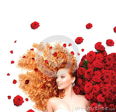 Free Girl With Curly Red Hair And Beautiful Red Roses Stock Photography - 41395862