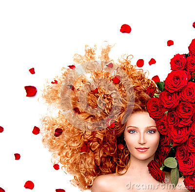 Free Girl With Curly Red Hair And Beautiful Red Roses Royalty Free Stock Photography - 41395867