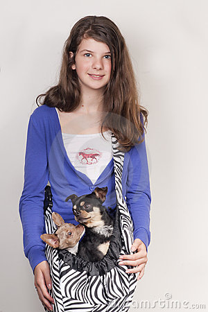 Free Girl With Dogs Stock Image - 20474131