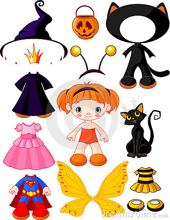 Free Girl With Dresses For Halloween Party Royalty Free Stock Image - 21443256