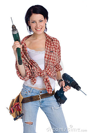 Free Girl With Drill Stock Photos - 2168683