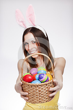Free Girl With Easter Egg Basket Royalty Free Stock Photo - 36182835