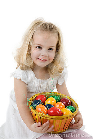 Free Girl With Easter Eggs In A Basket Stock Photography - 5620312