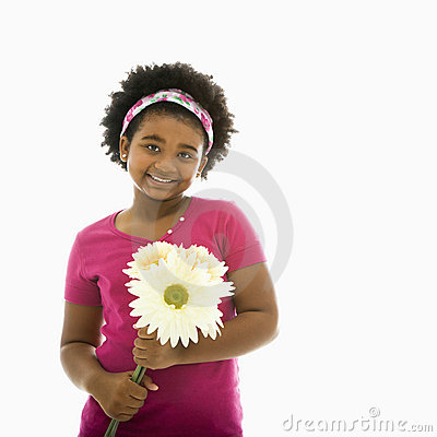 Free Girl With Flowers. Stock Images - 3423194