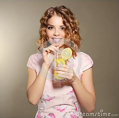 Free Girl With Fresh Lemonade Stock Photo - 35592590