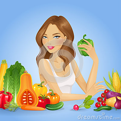 Free Girl With Fresh Vegetables. Healthy Food Vector Illustration Royalty Free Stock Photos - 66068648