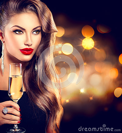 Free Girl With Glass Of Champagne Royalty Free Stock Images - 47942909