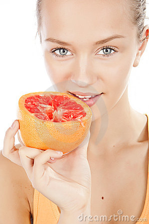 Free Girl With Grapefruit Royalty Free Stock Photos - 22116038