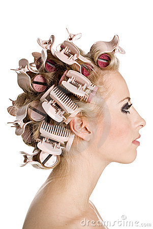 Free Girl With Hair Curlers Stock Images - 8287684