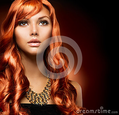 Free Girl With Healthy Long Red Hair Royalty Free Stock Images - 26467399