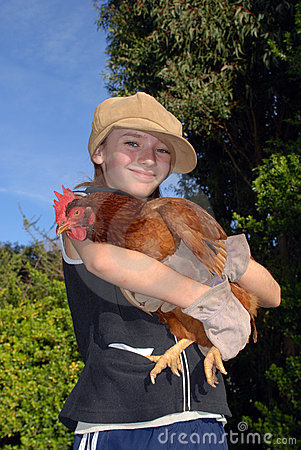 Free Girl With Hen Stock Image - 2174351
