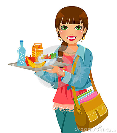 Free Girl With Her Lunch Royalty Free Stock Photo - 36880255