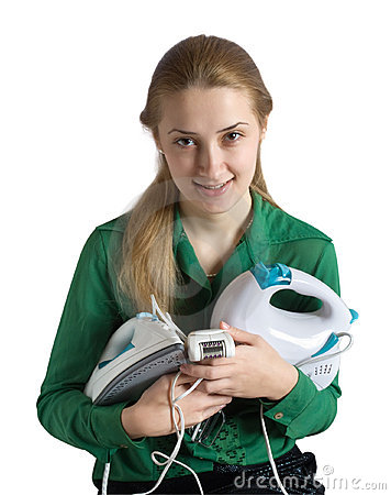 Free Girl With Household Appliances Royalty Free Stock Images - 7054429