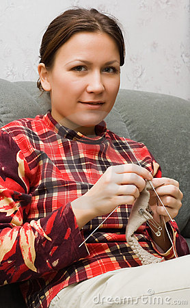 Free Girl With Knitting Royalty Free Stock Image - 4023556