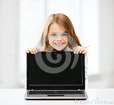 Free Girl With Laptop Pc At School Royalty Free Stock Photography - 33876007
