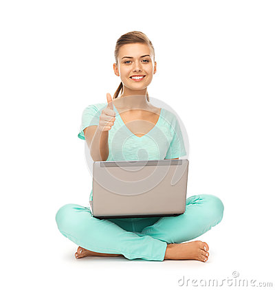 Free Girl With Laptop Showing Thumbs Up Royalty Free Stock Images - 32737759