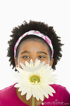 Free Girl With Large Flower. Stock Image - 3423211