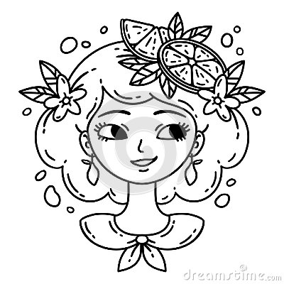 Free Girl With Lemon. Lemonade Girl. Isolated Objects On White Background. Vector Illustration. Coloring Pages. Stock Photos - 109952263