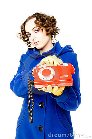 Free Girl With Old Telephone (focus On The Telephone) Royalty Free Stock Images - 12591439