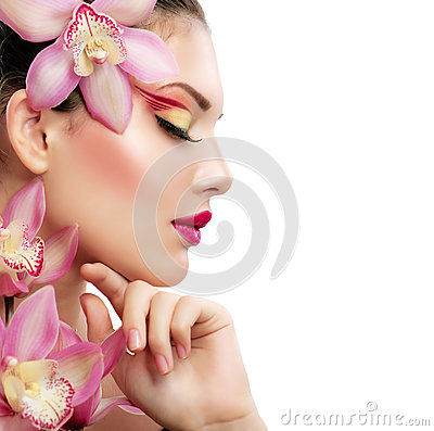 Free Girl With Orchid Royalty Free Stock Photos - 27875058