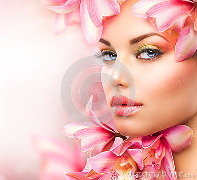 Free Girl With Orchid Stock Photo - 27875110