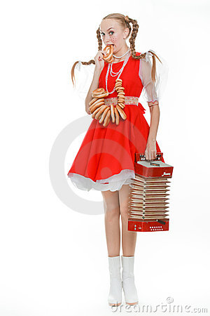 Free Girl With Plaits In Russian Folk Costume With Bara Royalty Free Stock Photography - 20860387