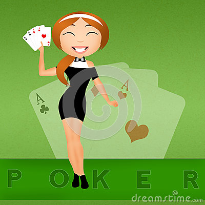 Free Girl With Poker Cards Royalty Free Stock Photography - 43668457