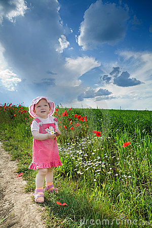 Free Girl With Poppies Stock Image - 5703201