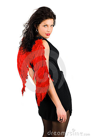 Free Girl With Red Angel Wings Stock Image - 17976931