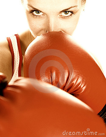 Free Girl With Red Boxing Gloves Royalty Free Stock Photography - 2402257