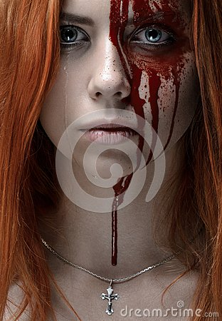 Free Girl With Red Hair, Bloody Face Stock Images - 53158834