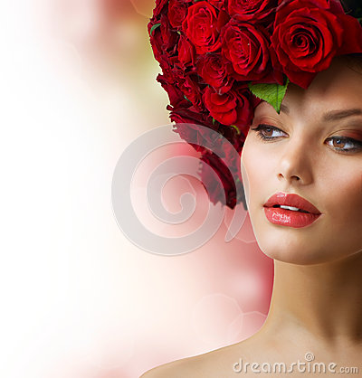 Free Girl With Red Roses Hairstyle Stock Images - 25452254
