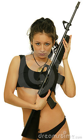 Free Girl With Rifle Stock Photo - 17622930