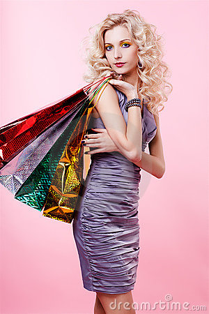 Free Girl With Shopping Bags Stock Photography - 17639732