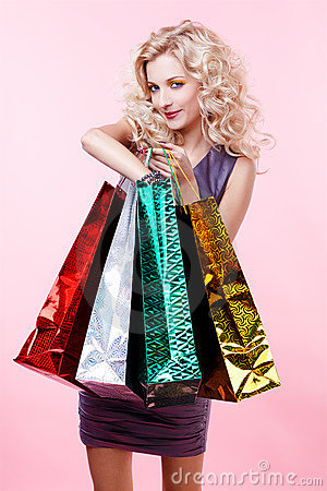 Free Girl With Shopping Bags Royalty Free Stock Image - 17639746