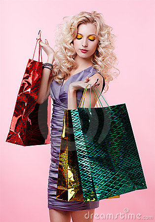Free Girl With Shopping Bags Stock Photography - 17639792