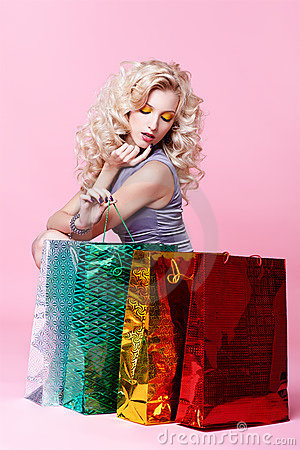 Free Girl With Shopping Bags Stock Image - 19612681