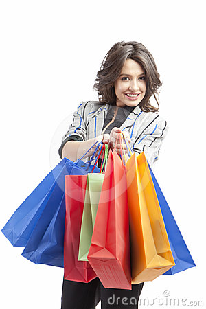Free Girl With Shopping Bags Royalty Free Stock Image - 24449466