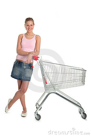 Free Girl With Shopping Cart Royalty Free Stock Image - 707576