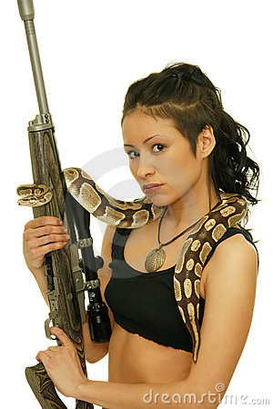 Free Girl With Snake Stock Images - 17616974