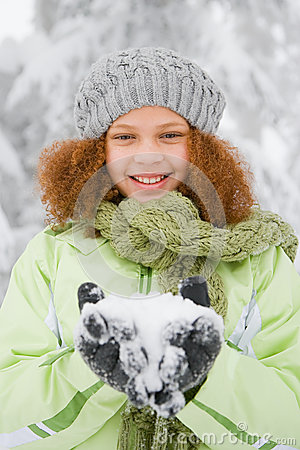 Free Girl With Snow Stock Images - 36095434