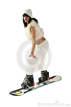 Free Girl With Snowboard Royalty Free Stock Image - 1606266