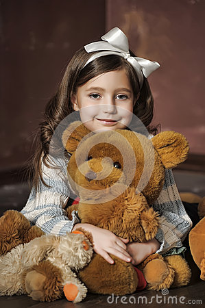 Free Girl With Teddy Bears Royalty Free Stock Photography - 48748387