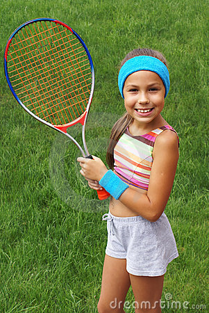 Free Girl With Tennis Racket Royalty Free Stock Images - 3023889