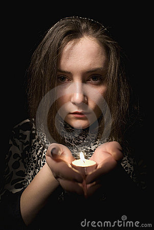 Free Girl With The Candle Stock Photo - 13690120