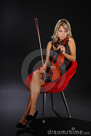 Free Girl With The Violin Stock Image - 1654931