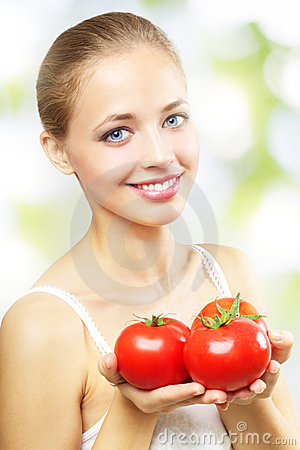 Free Girl With Three Red Tomatoes Stock Photo - 21062320